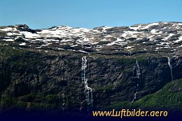 Aerial photo Waterfall in Hardangerfjord