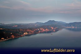Aerial photo Sunset over Corfu