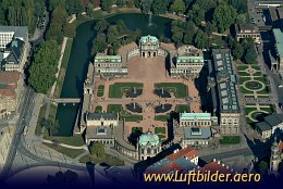 Aerial photo Zwinger Palace in Dresden